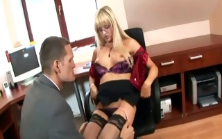 secretary in haunch highs fucking at the office