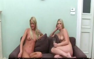two cute blondies butt fucking on couch