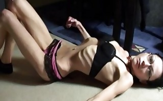 outlandish skinny babe with anorexia posing