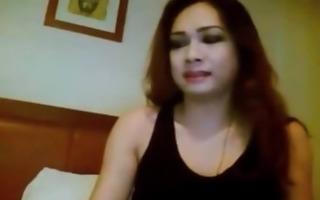 tran - thai lady-man disrobes & wanks