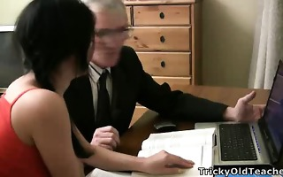 marvelous young student tempted by an old fart