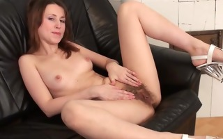 natural jasmine finger copulates her shaggy pussy