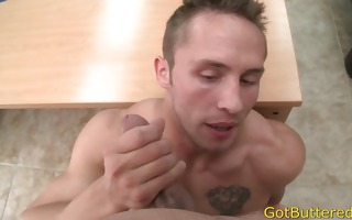 muscled and tattooed lad sucks it is hard part1
