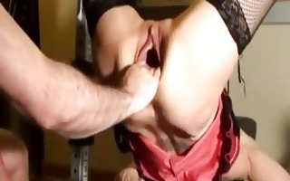 horny milf fist screwed in her gaping cunt till