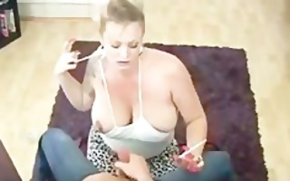 large love bubbles tattoo cougar giving hand job