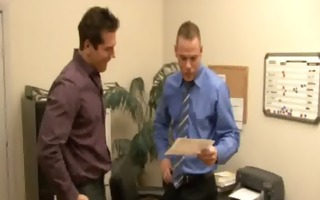 office homosexual guys drew and parker fuck at