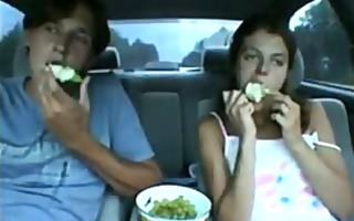 legal age teenager sucks his ding-dong in the car