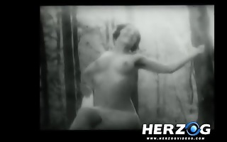 bare lesbo gal eaten in the woods in 20s porn