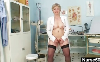 busty granny in uniform stretching her older wet