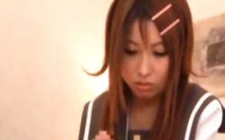wicked japanese school angel plays dick