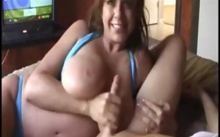 super large mangos milf in bikini doing blowjob