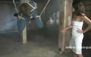 curly sex villein hanged in ropes