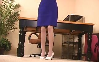 brunette hair in stockings and heels widens legs