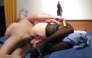 aged dilettante wife toys her ass and receives