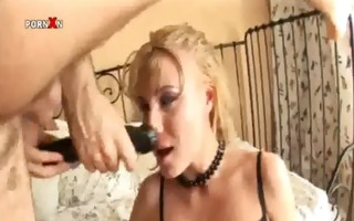 golden-haired honey sucks penis and gets her fur