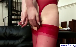 aged milf in stockings bent over kitchen table