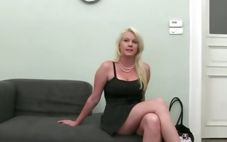 blonde teasing on the sofa fake agent