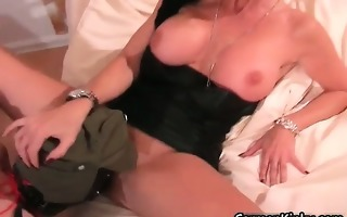 perverted brunette hair with biggest boobies plays