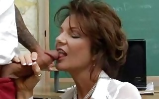 short haired brunette hair teacher sucks juvenile