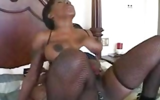 breasty ebony pornstar with pierced minge riding