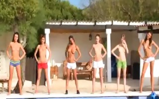 six naked legal age teenagers by the pool from