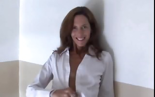 gorgeous older red head in nylons disrobes and