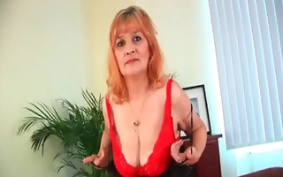 curly grandma with large tits has solo sex with a