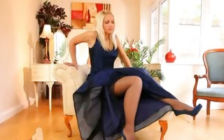 blue shoes and hot dress and underware