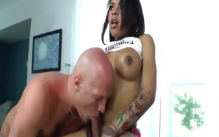 breasty tranny sucked and overspread in wax