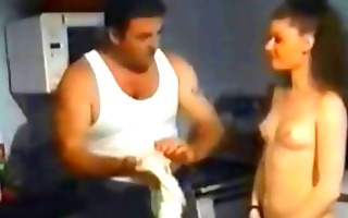 vintage sex video with couple on a kitchen