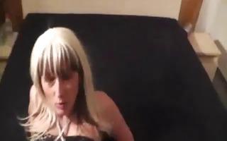 crazy dilettante copulates a wine bottle till she