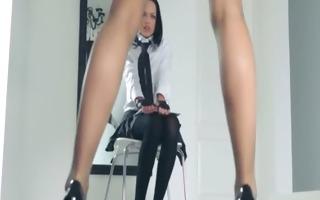 hot schoolmates teasing herself in panties