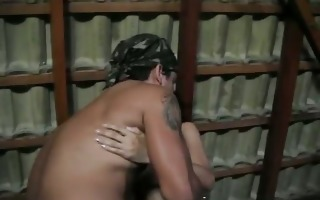 concupiscent brunette hair whore blowing cock