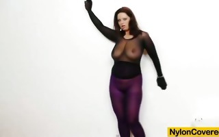 giant titties girl in nylon mask and full body