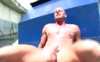 muscley gay bear fucks boy