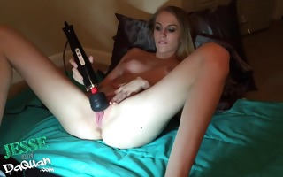 my charming white girlfriend toys her moist fur