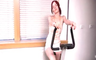fantastic redhead toying her fur pie