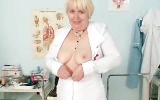 large love melons old lady in uniform fingers