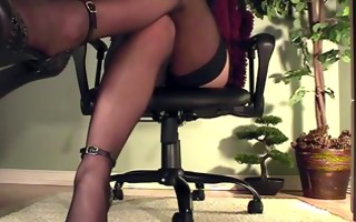 leggy secretary underneath desk masturbation