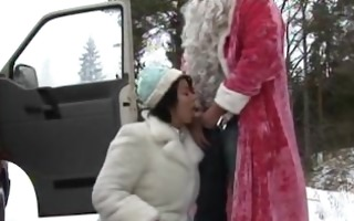 two santa claus snow maiden